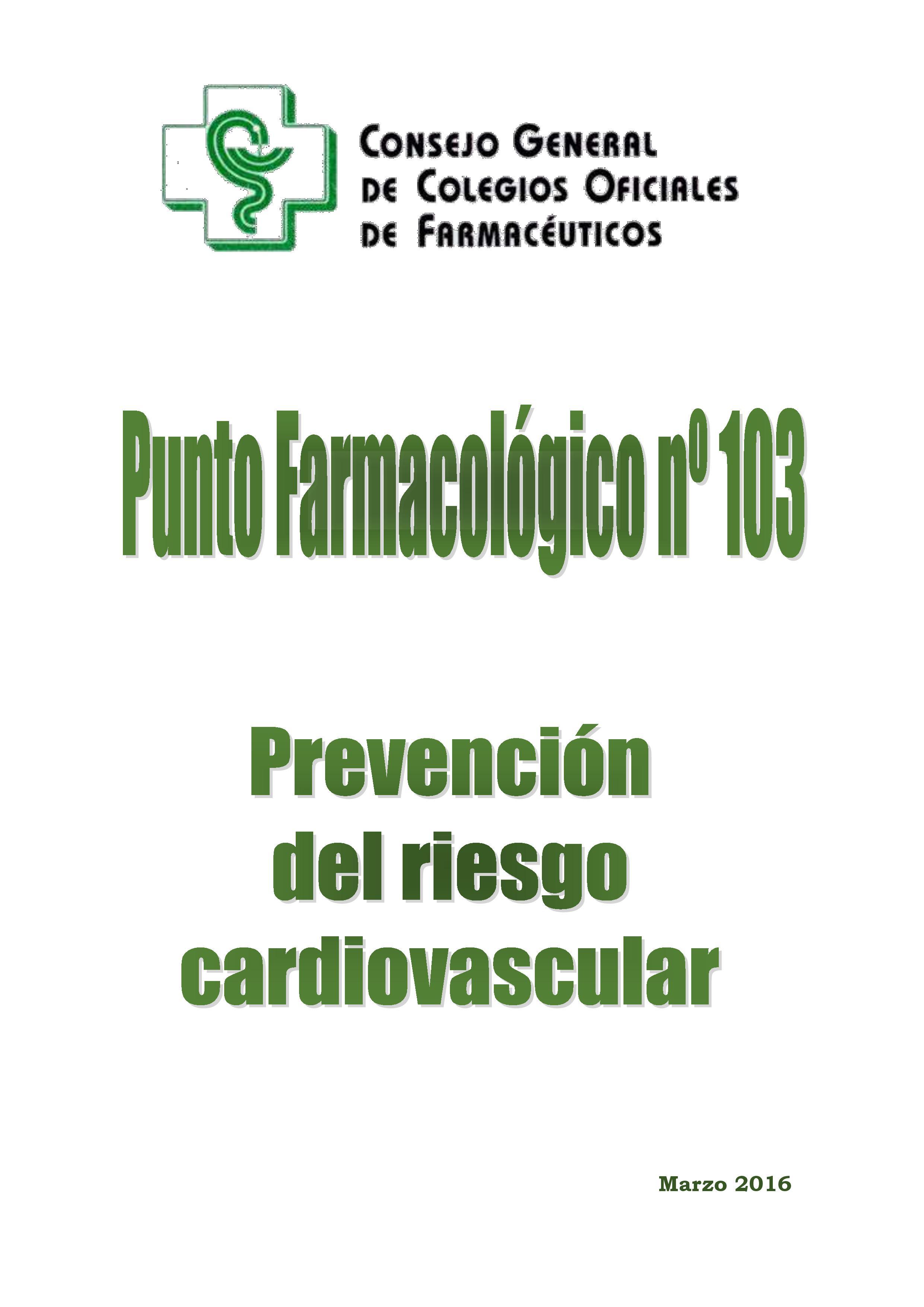 Prevención del riesgo cardiovascular – Punto Farmacológico nº 103
